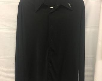 Vintage 1970's Designer *Nik Nik* Mens Black Nylon Button Up Dress Shirt NEW CONDITION