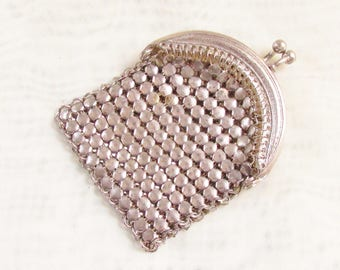 Vintage Silver Mesh Change Purse 1920s Art Deco Flapper Era