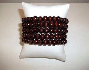 Dark Brown Bracelet, Brown Wood Bracelet, Beaded Bracelet, Coil Bracelet, Wrap Bracelet, Memory Wire Bracelet, Wood Bracelet