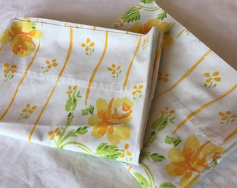 Vintage Pillowcases, Yellow Floral and Stripe, Glamping