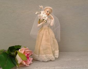 Vintage bride figurine - bride cake topper  - wedding decor - wedding figurine - bridal shower gift - vintage wedding - bride cake topper