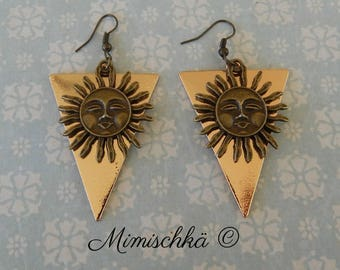earrings triangle sun gypsy