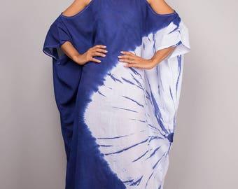 Kaftan, Kaftan dress, Halter Dress, Indigo Dress, Blue and White Summer Dress : Shibori Collection (SI-044)