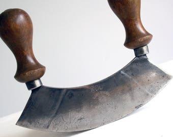 vintage wood handled herb cutter