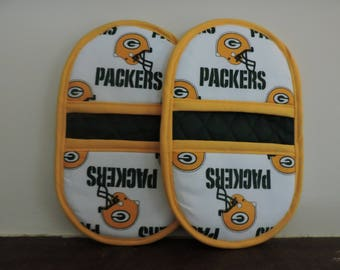 Mini Microwave Mitts-Oven Mitts-Pinchers-Green Bay Packers w/Yellow Trim-Free Shipping