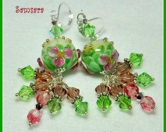 Green and Pink Earrings,Floral Earrings,Dangle Earrings,Elegant Earrings,Colorful Earrings,Unique Earrings, OOAK - SAMSARA