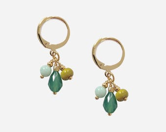 Gold plated Earrings with Agate and Amazonite