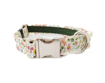 Floral Ruffle Dog Collar, Personalized Dog Collar