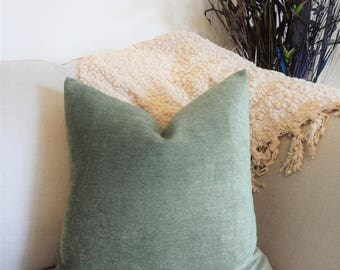 Textured Soft Cotton Green Gold Solid Sage Green Pillow Cover Decorative Throw Pillow Cover Choose Size