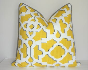 Yellow Gold & White Geometric Print Pillow Cover with Grey Piping Decorative Throw Pillow Cover Grey Yellow Size 20x20