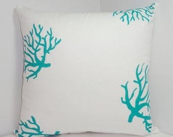 SPRING FORWARD SALE Teal Coral Pillow Cover Teal/White Ocean Coral Pillow Cover 20x20