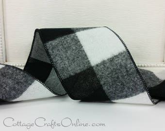 "Wired Ribbon, 4"", Black and White Flannel Buffalo Plaid - TEN YARD Roll -  ""Buffalo Black"" Check Wire Edged Ribbon"