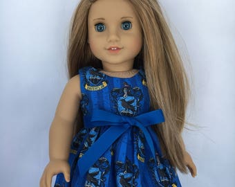 18 inch doll dress made of Harry Potter Ravenclaw fabric, made to fit 18 inch dolls such as American Girl and similar size dolls