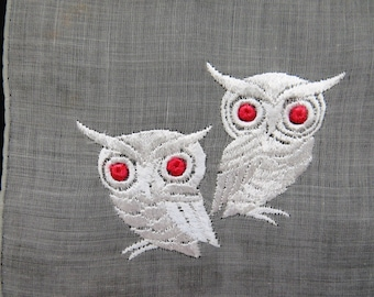 Vintage OWLS Handkerchief by Kimball - Gray Hanky Embroidered White Owls - Unused Original Tag - Halloween - Owl Collectors