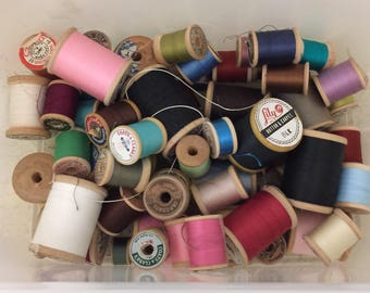 Lot of Vintage Wooden Spools of Thread - 2 Lbs. - Over 60 Spools - Various Sizes and Colors