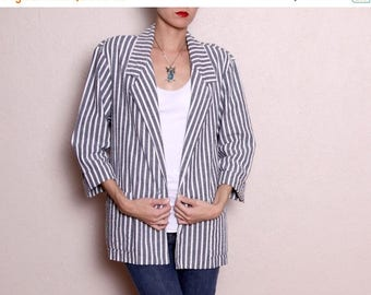 HUGE SALE Vintage Grey White Stripe Oversized Blazer