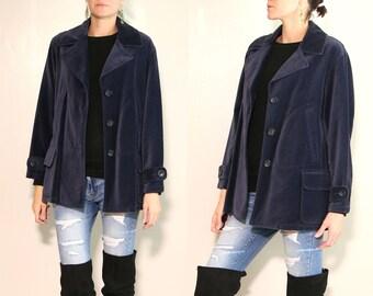 Vintage 90s Navy Blue Button Down Coat