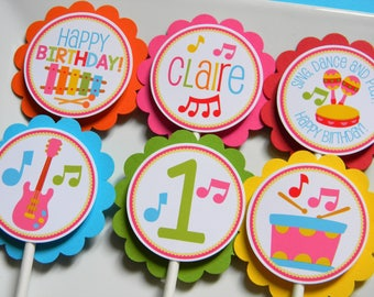 Music Birthday Party Personalized Cupcake Toppers, Music Party Decorations, Music Party Supplies, Music Custom Cupcake Toppers, Set of 12