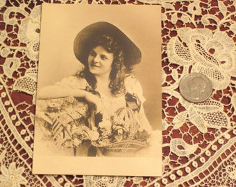 Antique Postcard European Lady With Flowers
