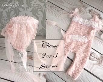 Newborn Romper and Bonnet, Newborn Photo Outfit Girl, Newborn Pink Romper, Take Home Outfit, Newborn Photo Outfit, Baby Bonnet Newborn Props