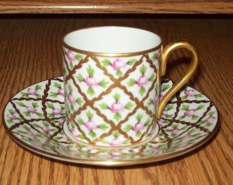 Herend Cup & Saucer Set- Sevres Roses pattern