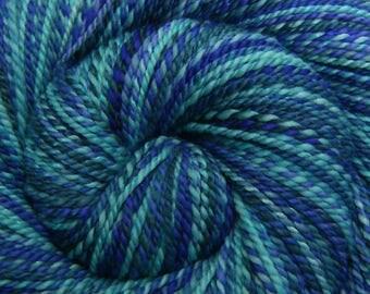 Handspun Yarn, Worsted weight 'HIDDEN ALCOVE' Handpainted 50/50 Merino/Mulberry Silk, 248 yards, blue handspun, gift for knitter, weft yarn