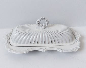 Vintage Silver Plate Butter Dish - Ornate - Painted  White - Shabby   Chic Decor - Distressed - Victorian - Farmhouse - French Cottage
