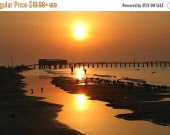 15% OFF Galveston Island Sunset Wall Artwork, Free Shipping, Original Signed Photo, Galveston Beach Sunset, Galveston Memorabilia, Photo
