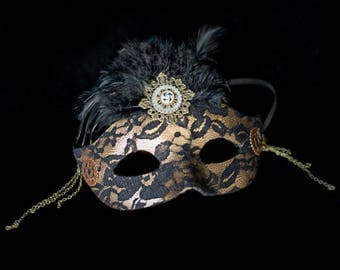 Steampunk Mask- Masquerade Ball Mask- Lace Mask- Steampunk Costumes- Steampunk Masquerade- Mardi Gras Mask- Steam Punk Ball- Burlesque