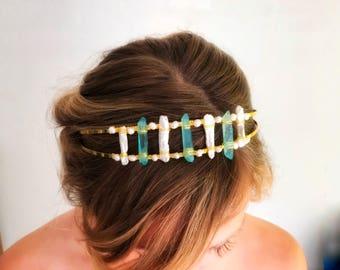 Boho wedding headpiece, Raw Quartz Headpiece, Bohemian Bride Hairpiece, Raw Quartz Headband, Blue Hair accessory, modern wedding headband