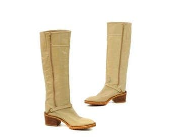 ON SALE Vintage 1970's Light Tan Bone Italian Leather Campus Stacked Wooden Heel Knee High Boots 8