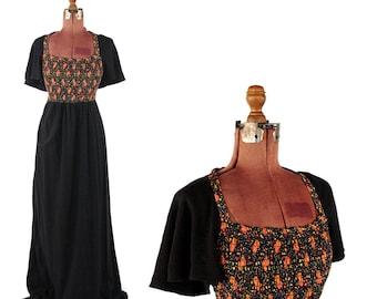 Vintage 1970's Black Boho Fan Sleeve Gathered Calico Floral Print Long Maxi Hippie Dress M