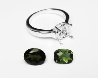 Moldavite Ring in Silver, Choice of 2 Stones
