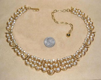 Vintage Trifari Choker Necklace With Rhinestones And Faux Pearls 1960's Signed Jewelry 11189