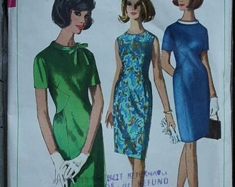 25%off Sizzlin Summer Sal Simplicity 6266 60s 1960s Sheath A Line Dress with Gathered Waist Inset  Vintage Sewing Pattern Size 12 Bust 32