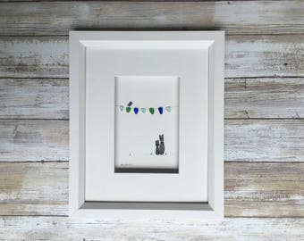 Pebble art, bunnies and bunting, childs room art, seaglass art 8 by 10 PebbleArt by Sharon Nowlan choice of framed or unframed