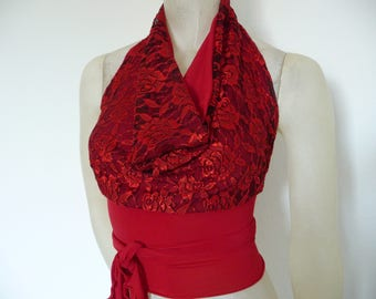 Red Lace with black Wrap Cowl Halter Top amazing  Tango Halter Cowl Neck Top fits  US 0 to 6  Dancewear Evening Top