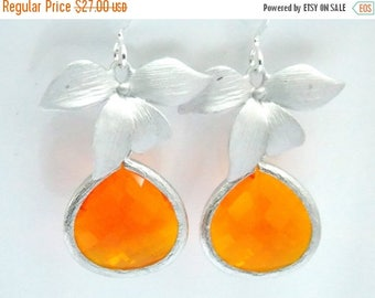 SALE Orange Earrings, Tangerine Earrings, Glass Earrings, Silver, Flower Earrings, Wedding Jewelry, Bridesmaid Earrings, Bridesmaid Gifts