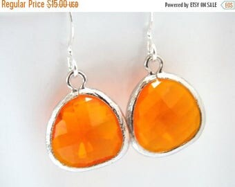 SALE Orange Earrings, Glass Earrings, Tangerine Earrings, Silver Earrings, Coral, Bridesmaid Earrings, Bridal Earrings Jewelry, Bridesmaid G