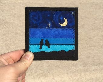 Midnight, 4x4 inches, original sewn fabric artwork, handmade, freehand appliqué, ready to hang canvas
