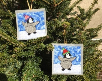 Ornament, Penguin Baby ornament, handmade sewn fabric ornament, 4x4 inches, hangs on satin ribbon