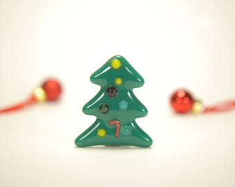 Holiday home decoration - Christmas tree fused glass magnet with candy cane, ornaments, forest green, red, white, with super strong magnet