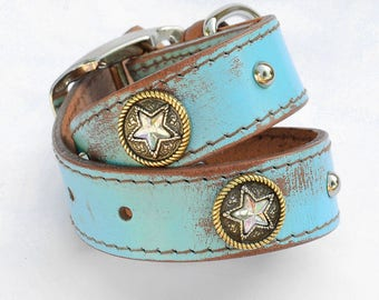 "Western Leather Dog Collar, Brown Leather Dog Collar, Crystal Star Dog Collar, One of a kind dog collar, Fits 14-16"" neck"