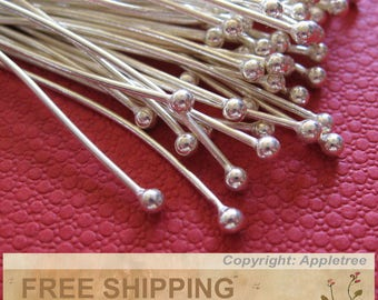 50 Solid Sterling Silver Ball Head Pins Wire 24 ga 1.5 in -Top Quality Headpins