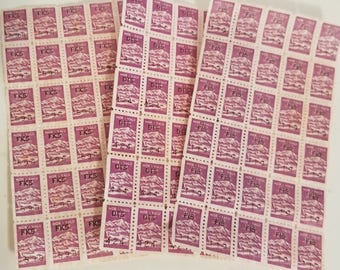 75 purple savings trading stamps 3 sheets More Value brand Grocery Premium ephemera Vintage paper scrap art supplies