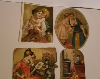 4 Victorian cards cut outs mother and child women boys girls antique ephemera old scrap paper art supplies vintage Q6