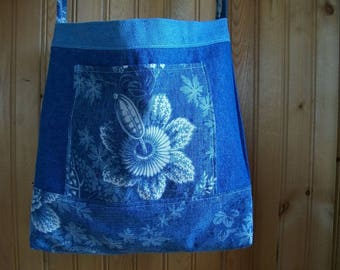 Handmade Upcycled Reclaimed Denim Reversible Tote Handbag Multi Use Market Bag  FREE SHIP