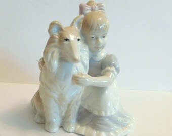 COLLIE SHELTIE DOG with Girl Figurine Vintage George Good - Original Label - Ceramic Shetland Sheepdog - 1980's (1988)