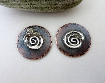 2 Melted Silver on Copper 3/4 Inch Charms, 18G Copper and Reticulated Silver, Mixed Metal Handmade Charms, Lot 8