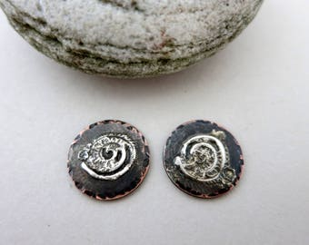 2 Melted Silver on Copper 1/2 Inch Charms, 18G Copper and Reticulated Silver, Mixed Metal Handmade Charms, Lot 12